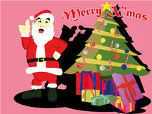 Santaclaus with christmas tree and a lot of gift Stock Images