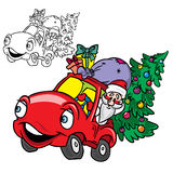 Santa Claus in a car with Christmas tree Stock Image