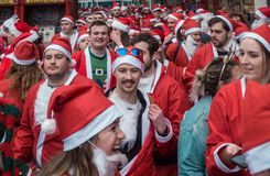 Santacon event in London stock photography