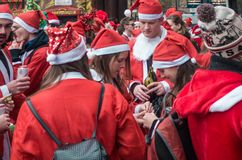 Santacon event in London stock images