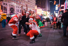 SantaCon in Times Square. Thousands hit New York City in sexy festive attire for annual SantaCon Stock Photo