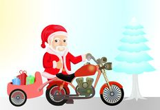 Santaklaus with motorcicle Royalty Free Stock Image