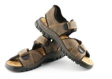 Santals des chaussures de l'homme de Brown avec le dispositif de fixation de Velcro Image stock
