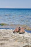 Santals sur la saillie par le lac photo libre de droits