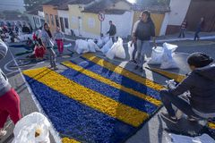 Overview of street rugs in celebration of the day of Corpus Christi stock photo