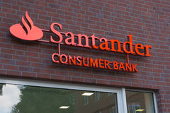 Santander banka Konsumpcyjny logo Obraz Stock