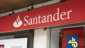Santander-Bankgeschäftszeichen stockbild