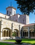Santander Cathedral, arches and inside facade from the cloister Royalty Free Stock Photos