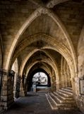 Santander Cathedral, arches of the main porch. Santander Cathedral, detail of arches of the main porch access Royalty Free Stock Photo