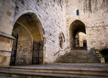 Santander Cathedral, facade and secondary staircase of access. Santander Cathedral, side detail of the facade and secondary staircase of access Royalty Free Stock Photos