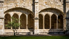 Santander Cathedral, front view of eight arches of the cloister Royalty Free Stock Photography