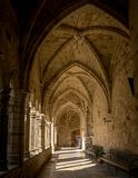Santander Cathedral, hallway, columns and arches of the cloister Royalty Free Stock Image