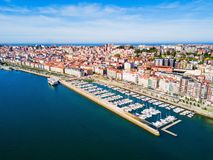 Santander city aerial view, Spain. Santander city aerial panoramic view. Santander is the capital of the Cantabria region in Spain Royalty Free Stock Photos