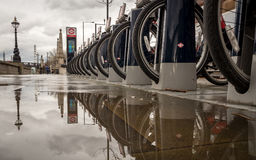 Santander Cycles in the rain, London Royalty Free Stock Images