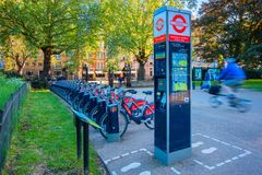 Santander cykle w Londyn, UK zdjęcia stock