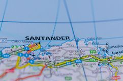 Santander on map. Close up shot of Santander on map, Spain Stock Photo