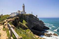 Faro de Cabo Mayor, Santander, Cantabria, Spain. Santander, Spain. The Faro de Cabo Mayor or Faro de Bellavista, a lighthouse in the coast of Cantabria near the stock photos