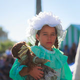 SANTANDER, SPAIN - JULY 16: Unidentified girl, dressed of period costume in a costume competition celebrated in July 16, 2016 in S Stock Photo