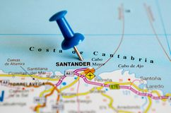 Santander, Spain on map. Close up shot of Santander, Spain on map with blue push pin Royalty Free Stock Images