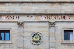 SANTANDER, SPAIN - March 3, 2019. Facade of the headquarters of Banco Santander, in the city of the same name. The Santander Group royalty free stock photography