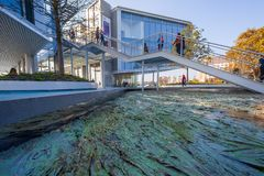 Free SANTANDER, SPAIN - October 21, 2018. Botín Center Work Of Architect Renzo Piano. In The Foreground, The Pond, The Work Of Artis Royalty Free Stock Photo - 130014285