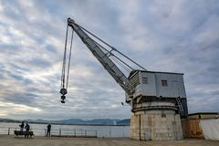 View of the old crane called Grua de Piedra in Santander royalty free stock images