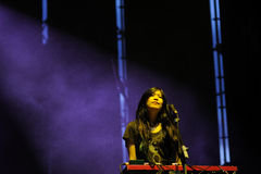 Plågor av att vara rent på hjärta på den Santander musikfestivalen Royaltyfri Foto
