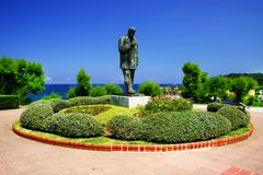 Santander, the statue of the poet Jose del Rio Sainz. Jose del Rio Sainz was a spanish navigator, journalist and a great poet of the sea. Santander, Cantabria royalty free stock images
