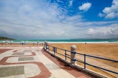Santander waterfront promenade and surfer beach,  Spain Stock Photos
