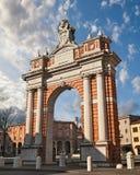 Santarcangelo di Romagna, Rimini, Emilia-Romagna, Italy: the triumphal Arch (Arco di Papa Clemente XIV, 1772–77) royalty free stock images
