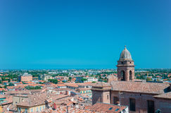 Santarcangelo view of the dome of the old church italy Rimini Italy. Europe royalty free stock photos