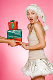 Santarina With Gifts Stock Images