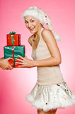 Santarina With Gifts Royalty Free Stock Photography