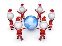 Santas вокруг земли. иллюстрация вектора