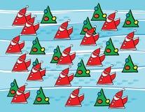 Santas And Christmas Trees Stock Image