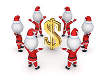Santas around sign of dollar. Stock Image