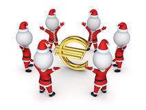 Santas around sign of euro. Stock Images
