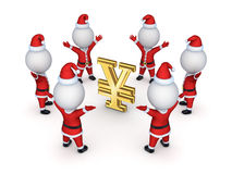 Santas around sign of yen. Stock Photography