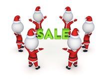 Santas around word SALE. Royalty Free Stock Photography