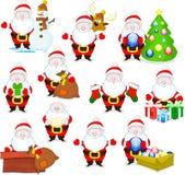 Santas. Big collection of cute cartoon santa clauses Stock Photo
