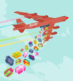 Santas bomber dropping the gifts. Conceptual illustration suitable for advertising and promotion Stock Photo