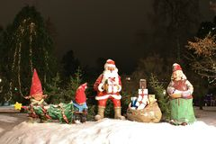 Santas in City Park Royalty Free Stock Image