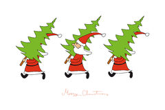 The Santas come with fir trees. The Santas come, merry christmas, The Santas come with fir trees, The Santas bring Christmas trees,  christmas greeting Stock Photos