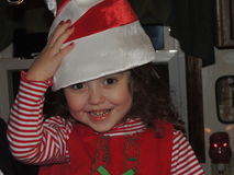 Young Girl with an Elf Hat  Royalty Free Stock Images
