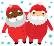 Santas of Different Ethnicity Royalty Free Stock Images