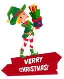 Santas dwarv op een witte achtergrond Santa Claus-het karakter van het het kindbeeldverhaal van de elfhelper Stock Foto
