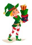 Santas dwarv on a white background. Santa Claus elf helper child cartoon character. Royalty Free Stock Photo