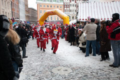 Santas Fun Run & Walk in Riga, Latvia Stock Photo