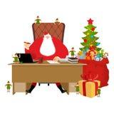 Santas funktionsdugligt kontor Claus på arbete Julälvahjälpreda bifokal royaltyfri illustrationer