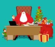Santas funktionsdugligt kontor Claus på arbete Julälvahjälpreda bifokal stock illustrationer